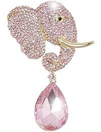 Rhinestone Crystal Adorable Cute Elephant Teardrop Brooch Pink Gold-Tone