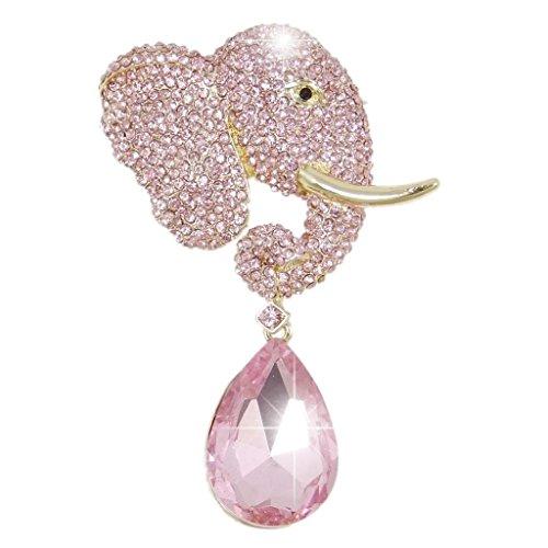 EVER FAITH Rhinestone Crystal Adorable Cute Elephant Teardrop Brooch Pink Gold-Tone