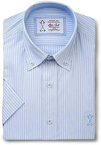 Camisa de Hombre Manga Corta, de Color Azul Celeste con Rayas Verticales Azules - 7_3XL, Azul Claro: Amazon.es: Ropa y accesorios