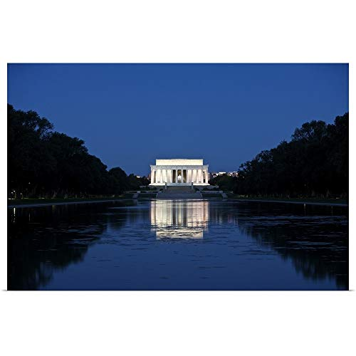 GREATBIGCANVAS Poster Print Entitled Lincoln Memorial Reflection in Pool, Washinton D.C, USA by Terry Moore 18