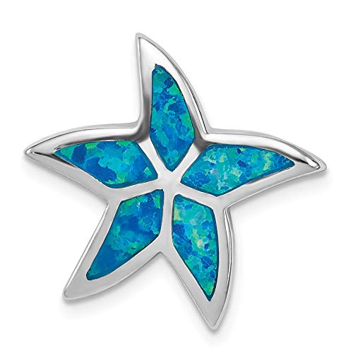 925 Sterling Silver Created Blue Opal Starfish Slide Necklace Pendant Charm Chain Fine Jewelry Gifts For Women For Her