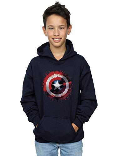 Marvel Boys Avengers Captain America Art Shield Hoodie Navy Blue 7-8 Years