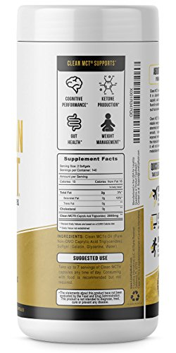 Clean MCT Capsules - Pure C8 MCT Oil Softgels - Highly Ketogenic Medium Chain Triglycerides - Instantly Converts into Ketones - Supports Ketosis - Cognitive Function - 1000mg Each by LevelUp (Image #1)