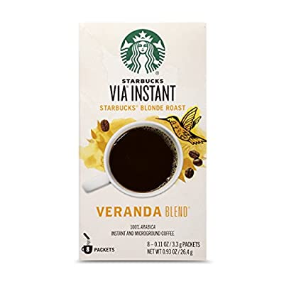 Starbucks VIA Instant Veranda Blend Light Blonde Roast Coffee (1 box of 8 packets)