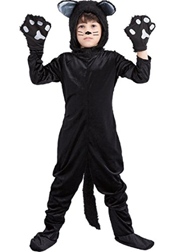 Sorrica Unisex Children Black Cat Costume Anime Pajamas Party Outfit One Piece Halloween Costume (S(Length 43.3