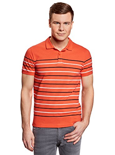 Ultra Polo In Oodji Righe Uomo 4310s A Piqué Rosso 1Uqxd7wx