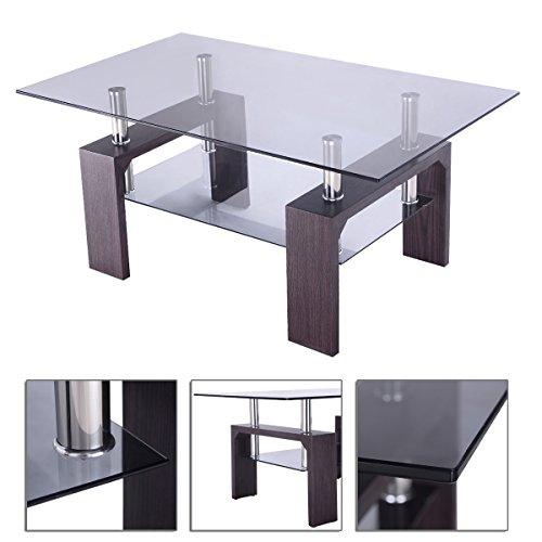 Rectangular Coffee Floating Glass Table  - Koa Wood Veneer Shopping Results