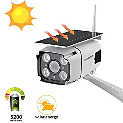 Solar Powered Security Camera, SDETER 1080P Wireless WiFi Battery Cameras, Radar Motion Detection Night Vision IP CCTV Outdoor Cam with Removable Solar Panel