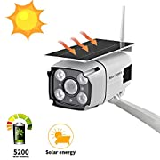 #LightningDeal Solar Powered Security Camera, SDETER 1080P Wireless WiFi Battery Cameras, Radar Motion Detection Night Vision IP CCTV Outdoor Cam with Removable Solar Panel