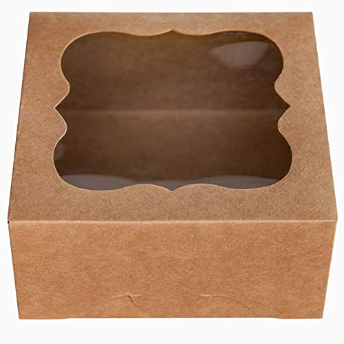 "ONE MORE 6""x6""x3""Brown Bakery Boxes with PVC Window for Pie and Cookies Boxes Small Natural Craft Paper Box 6x6x3inch,Pack of 15"