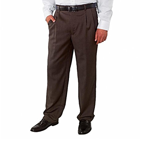 Kirkland Signature Men's Wool Gabardine Pleated Dress Slack Pant, Herringbone Brown, Size 32x32