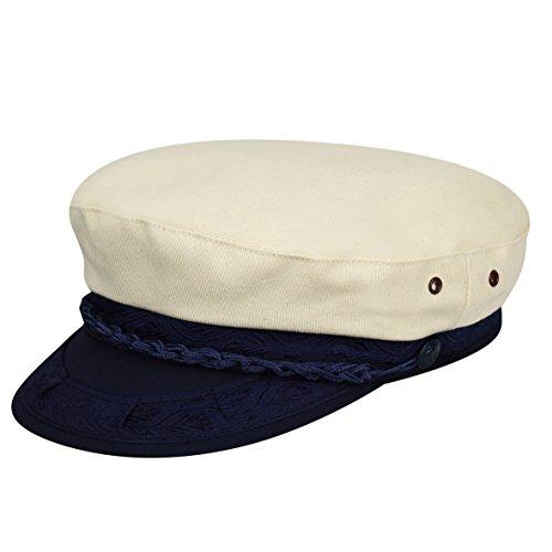Canvas Newsboy Cap - Country Gentleman Men's Canvas Greek Fisherman Cap HAT, Beige, 7 5/8