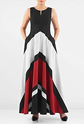 eShakti Women's Chevron stripe colorblock maxi dress