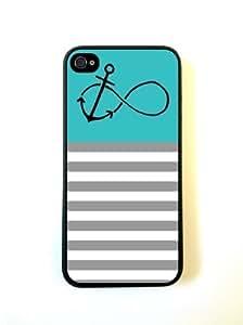 Anchor Forever Teal & Grey Stripes Black iPhone 5 Case - For iPhone 5/5G - Designer PC Case Verizon AT&T Sprint