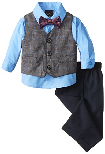 Nautica Dressy Vest Set, Charcoal Heather, 3-6 Months