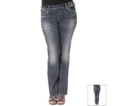Silver Jeans Women's Plus-Size Suki Mid Rise Indigo Slim Bootcut Jean, Indigo, 20x31