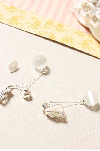 - Opal Earrings Earring Dangler Eardrop Women Girls Long Tassel Without Pierced Pure Antiquity Creative Moonstone Ear Clip (Silver Cushion Clip. Pair