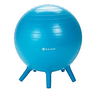 Gaiam Kids Stay-N-Play Children's Inflatable Balance Ball Desk Chair With Stability Legs - Flexible Classroom Seating, Blue, 45cm