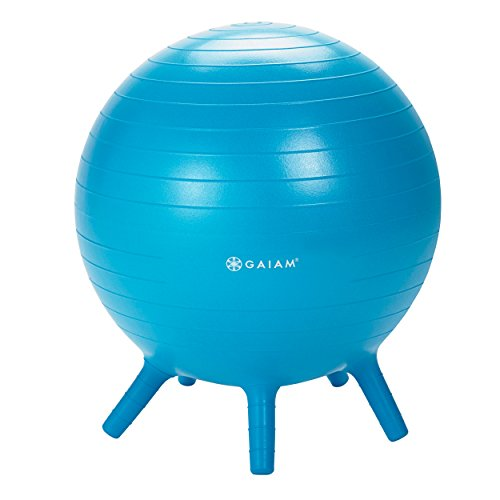 Gaiam Kids Stay-N-Play Children's Inflatable Balance Ball Desk Chair With Stability Legs - Flexible Classroom Seating, Blue, 52cm