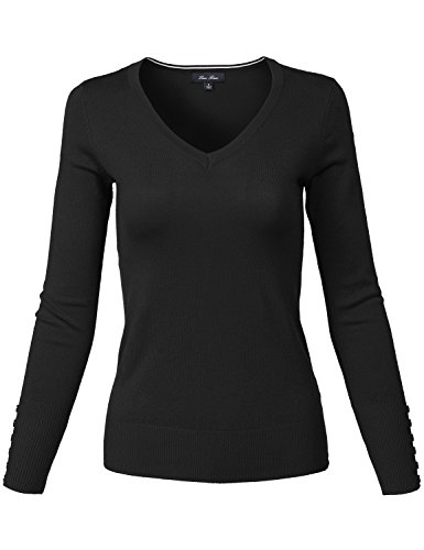 Slim Fit Basic V-Neck Sleeve Button Thin Soft Classic Sweaters,139-black,Large