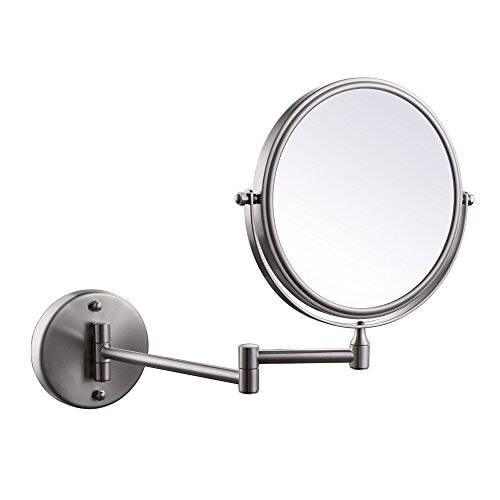 KES SUS304 Stainless Steel Bathroom 3x Magnification Two-Sided Swivel Wall Mount Mirror 8-Inch, Brushed Finish, (Swivel Bathroom Mirrors)