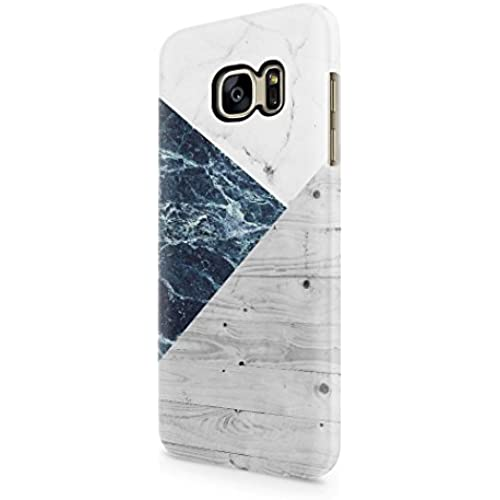 White And Blue Marble Stone Wood Print Hard Plastic Samsung Galaxy S7 Phone Case Cover Sales