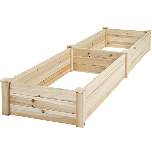 8' x 2' Wooden Raised Vegetable Garden Bed Flowers Planter w/ Separate into 2 Bed Boxes by FDInspiration