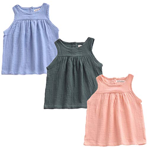 3 Pack of Baby Toddle Infant Girls Cotton Linen Blend Tank Tops T Shirts Blouse Tag 80
