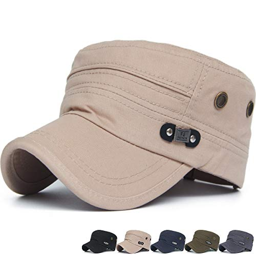 (Rayna Fashion Men Women Soft Washed Cotton Adjustable Flat Top Military Army Hat Cadet Cap)
