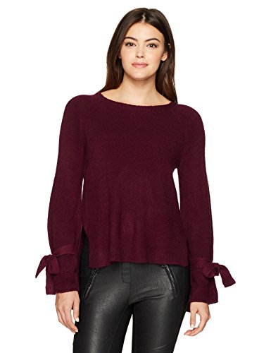 Wood Womens Sweater (Kensie Women's Warm Touch Bow Sleeve Sweater, Cherry Wood, M)