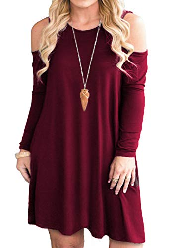Tralilbee Women's Plus Size Cold Shoulder Dresses Long Sleeve Swing Casual Dress with Pockets Wine Red XL