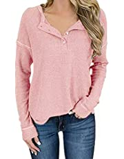 ANCAPELION Women's Casual Waffle Knit Tunic Long Sleeve Tops Loose Button Up Pullover Tops Henley Shirts