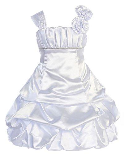 Wonder Girl Tiffany Big Girls' Satin Short Dress S6 White Satin Graduation Dress
