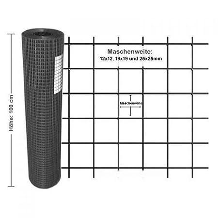 Rete metallica zincata PVC nero Voliere//uccelli Maglia metallica Recinzione giardino Lunghezza 10 m Altezza 100 cm Larghezza maglie 19x19 mm Diametro 1.45mm