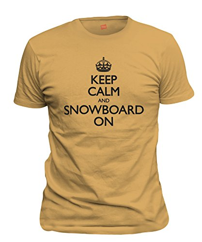 Gold Mens Snowboard Binding - ShirtLoco Men's Keep Calm And Snowboard On T-Shirt, Gold Nugget Medium