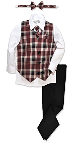 JL46 Boys Formal Plaid Dress Wear Vest Set (8, Burgundy)