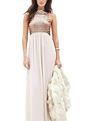 SheIn® Women's Pink Halter Sequined Top Maxi Evening Dress