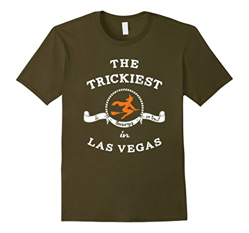 Mens The Trickiest Witch In Las Vegas Halloween T-Shirt Funny Small Olive (Halloween Las Vegas 2017)