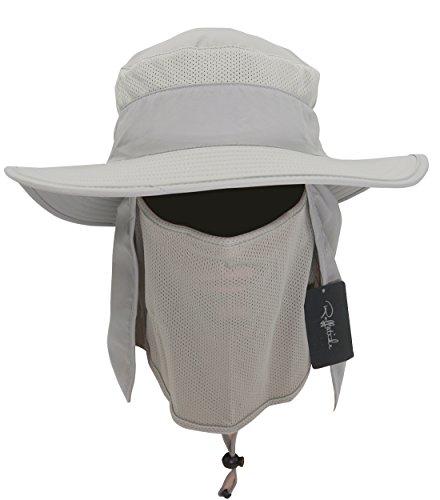 293bd261 Roffatide Detachable Sun Hat with Neck Flap Outdoor Fishing Mesh Bonnine Bucket  Cap Grey