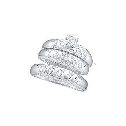 10kt White Gold His & Hers Round Diamond Solitaire Matching Bridal Wedding Ring Band Set 1/12 Cttw by JawaFashion