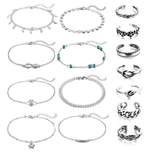 Ring Ankle Bracelet - Wremily 15Pcs Anklets and Toe Rings Set for Women Girls Adjustable Beach Ankle Bracelet Chains Open Toe Ring Foot Jewelry