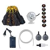 YUXIER Aquarium Volcano Ornament Kits with 7 Colour LED Spotlight Air Oxygen Pump Air Bubbler Stone for Fish Tank Decorations