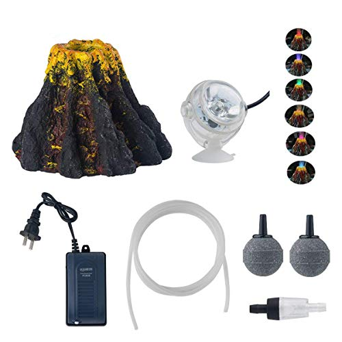 YUXIER Aquarium Decorations Volcano Ornament Kits  7Colour LED Spotlight Aquarium Bubbler Air Stone for Fish Tank Decorations ()