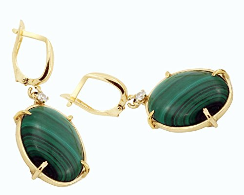 14k yellow gold Malachite earrings with small 0.1 Ct diamonds bohemian jewelry for women (0.1 Ct Gemstones)