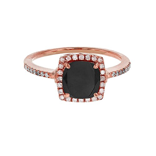 Sterling Silver Rose 7mm Cushion Onyx & Cr White Sapphire Halo Ring by Decadence