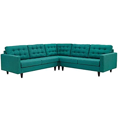 Modway Empress Mid-Century Modern Upholstered Fabric Sectional Sofa Set In Teal - CONTEMPORARY STYLE - The roomy depth and iconic look of Empress showcase mid-century modern design. Boasting tailored lines and a hopeful style, this piece embodies retro intrigue and sophistication. FINE UPHOLSTERY - Upholstered in quality polyester, Empress emboldens décor with a design worth remembering. This distinctive collection makes for a striking statement brimming with possibility. MODERN LOUNGE SPOT - A cherished tufted button seat for lounge spaces of all types, Empress provides an elegant place to rest when delving deep into conversation or sipping a steaming cup of tea. - sofas-couches, living-room-furniture, living-room - 41VOZPebCYL. SS400  -