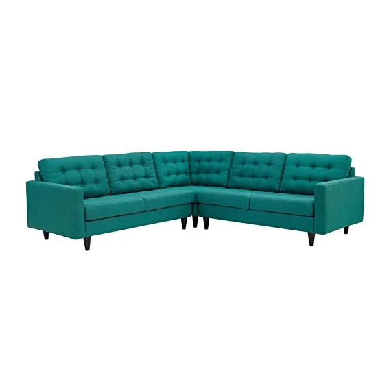 Modway Empress Mid-Century Modern Upholstered Fabric Sectional Sofa Set In Teal - CONTEMPORARY STYLE - The roomy depth and iconic look of Empress showcase mid-century modern design. Boasting tailored lines and a hopeful style, this piece embodies retro intrigue and sophistication. FINE UPHOLSTERY - Upholstered in quality polyester, Empress emboldens décor with a design worth remembering. This distinctive collection makes for a striking statement brimming with possibility. MODERN LOUNGE SPOT - A cherished tufted button seat for lounge spaces of all types, Empress provides an elegant place to rest when delving deep into conversation or sipping a steaming cup of tea. - sofas-couches, living-room-furniture, living-room - 41VOZPebCYL. SS570  -