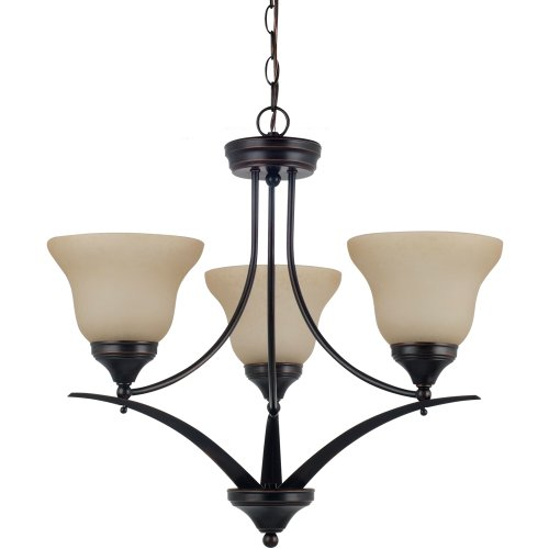 Sea Gull Lighting 31173BLE-710 Chandelier with Amber Scavo Glass Shades, Burnt Sienna Finish