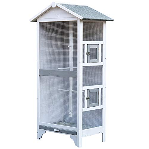 PawHut Wooden Outdoor Bird Cage, Featuring a Large Play House with Removable Bottom Tray 4 Perch