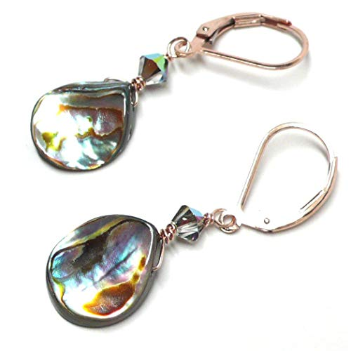 - Abalone Teardrop Rose Gold-Filled Lever Back Earrings Swarovski Crystal Custom